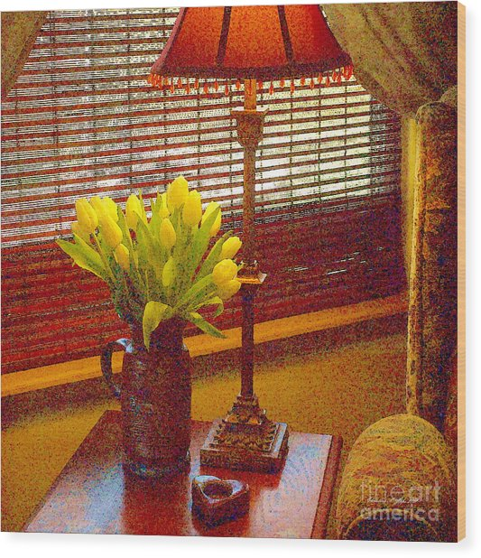 Easter Tulips Still Life - Paintograph Wood Print by Christine S Zipps