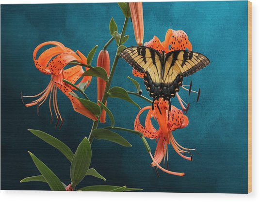 Eastern Tiger Swallowtail Butterfly On Orange Tiger Lily Wood Print