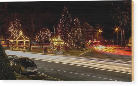 Easthampton Light Trails Wood Print