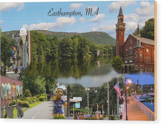 Easthampton Ma Collage Wood Print