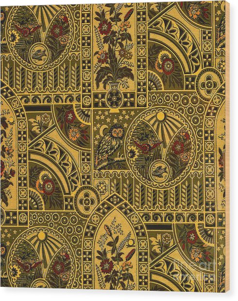 Eastlake Gilt Victorian Tapestry With Owl Wood Print