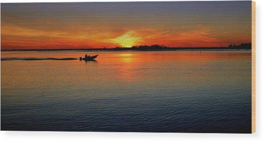Easy Sunday Sunset Wood Print