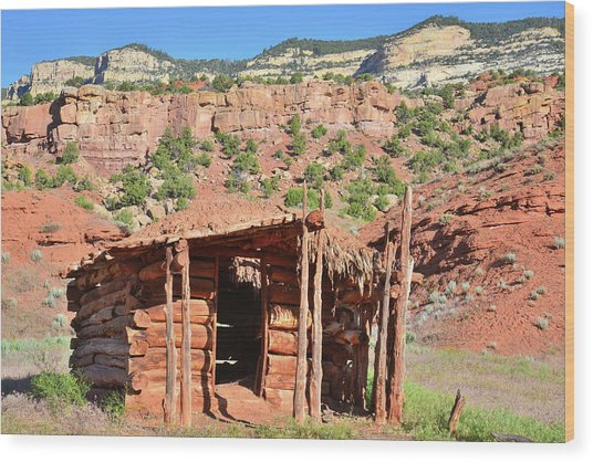 Echo Park Cabin In Dinosaur National Monument Wood Print