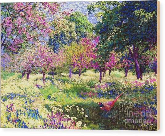 Echoes From Heaven, Spring Orchard Blossom And Pheasant Wood Print
