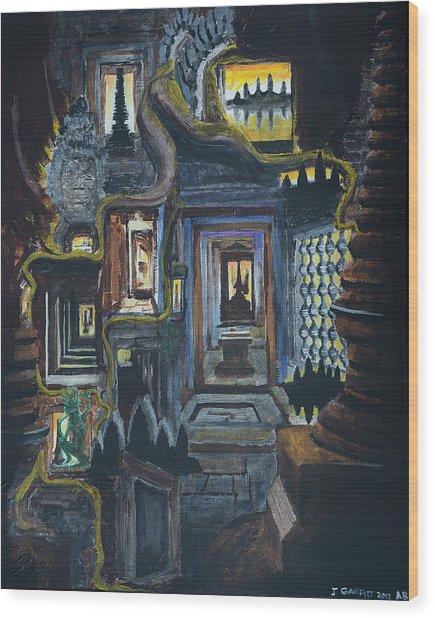 Echoes Of Angkor Wat Wood Print