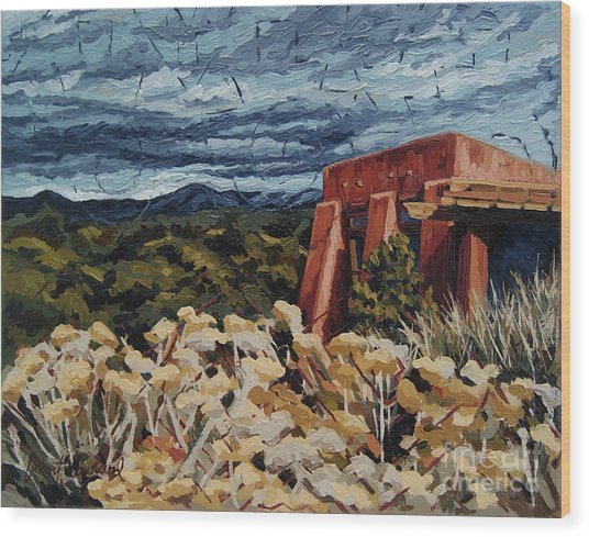 Wood Print featuring the painting Echoes Of Tularosa, Museum Hill, Santa Fe, Nm by Erin Fickert-Rowland