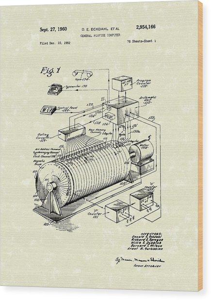 Eckdahl Computer 1960 Patent Art Wood Print