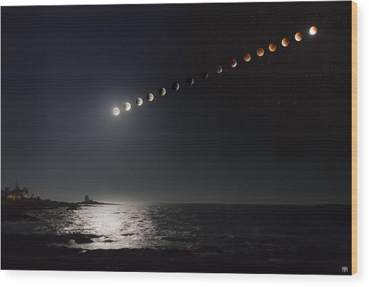Eclipse Of The Moon Wood Print