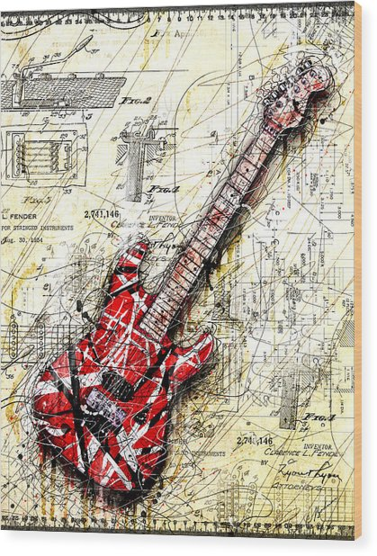 Eddie's Guitar 3 Wood Print