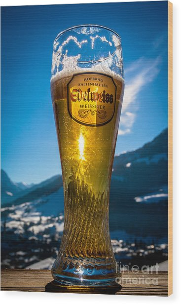Wood Print featuring the photograph Edelweiss Beer In Kirchberg Austria by John Wadleigh