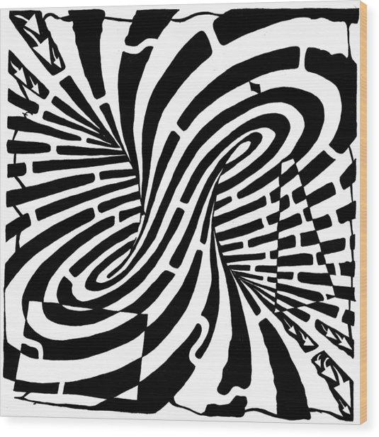 Edge Of A Mobius Strip Maze Wood Print by Yonatan Frimer Maze Artist