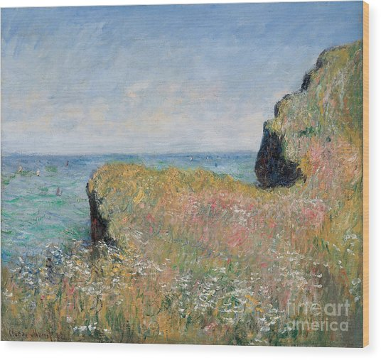 Edge Of The Cliff Pourville Wood Print