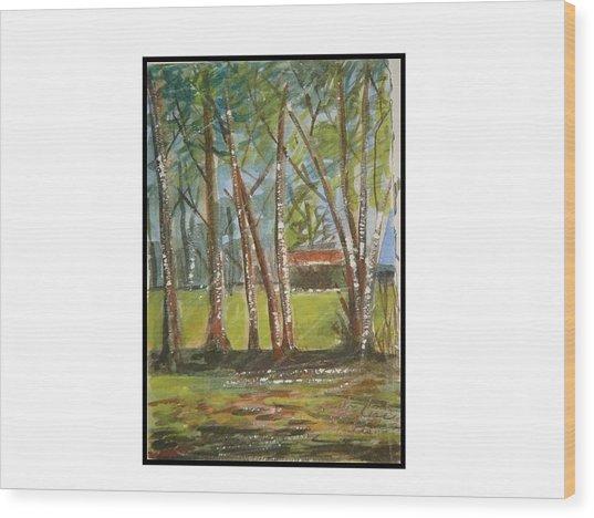 Edge Of Woods Wood Print by Angela Puglisi
