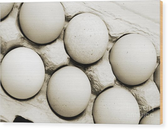 Edgy Farm Fresh Eggs Wood Print