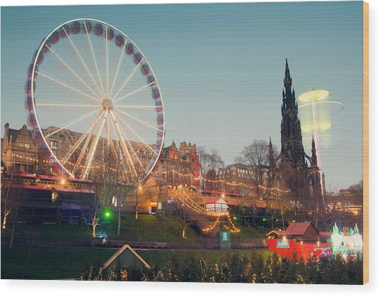 Edinburgh And The Big Wheel Wood Print