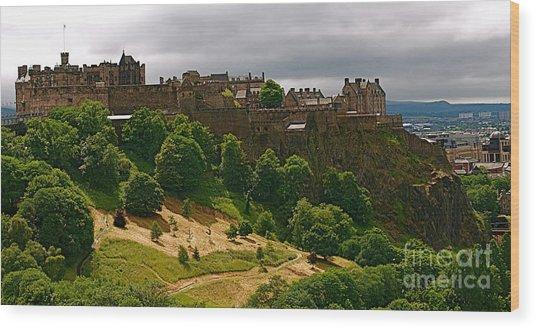 Edinburgh Castle Wood Print by Louise Fahy
