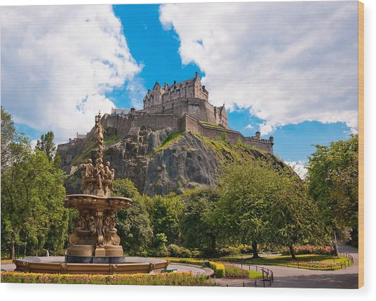 Edinburgh Castle From The Gardens Wood Print