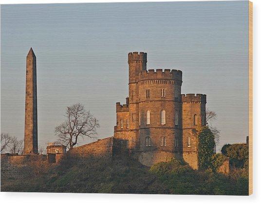 Edinburgh Scotland - Governors House And Obelisk Calton Hill Wood Print