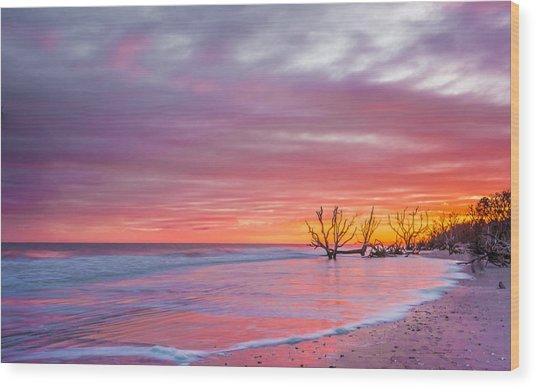 Edisto Beach Sunset Wood Print