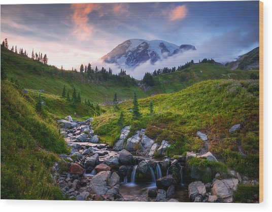 Edith Creek Sunset Wood Print