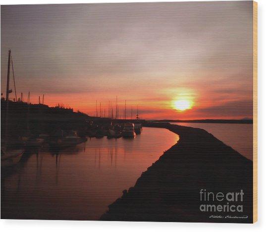 Edmonds Washington Boat Marina At Sunset Wood Print
