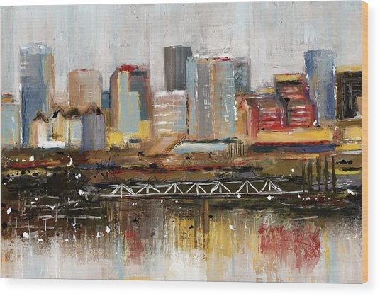 Edmonton Skyline Abstract1 Wood Print