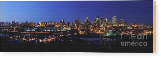 Edmonton Skyline Panorama 4 Wood Print by Terry Elniski