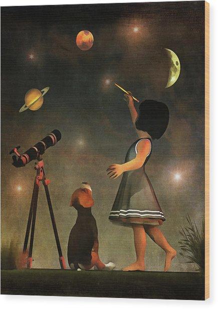 Educating Astronomy Wood Print