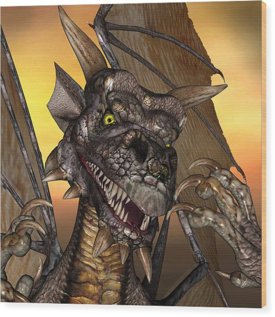 'edwin' Dragon - With Claws Like These Who Needs A Tooth Pick  Wood Print