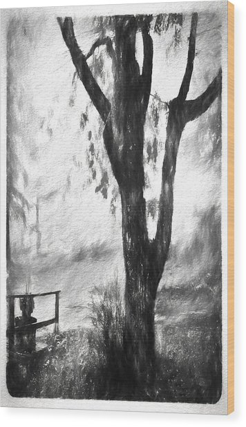 Tree In The Mist Wood Print