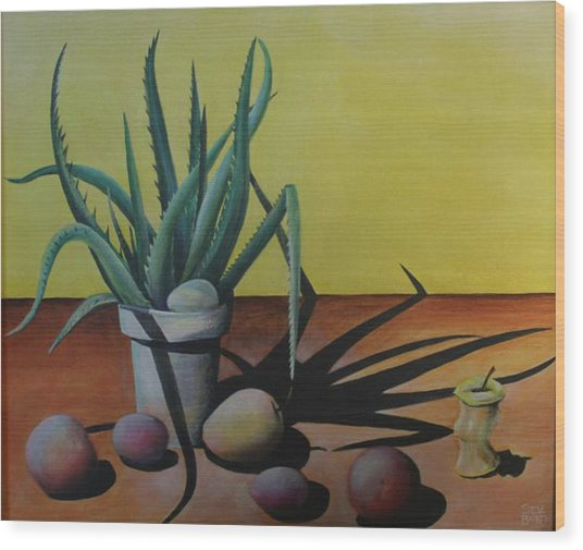 Egg And Aloe Wood Print