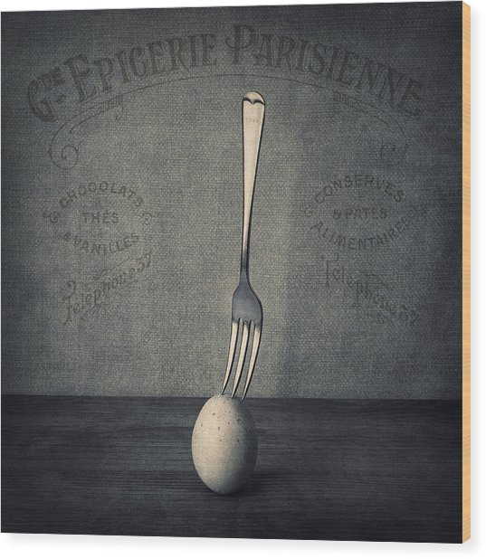 Egg And Fork Wood Print