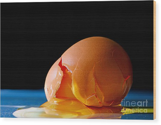 Egg Cracked Wood Print
