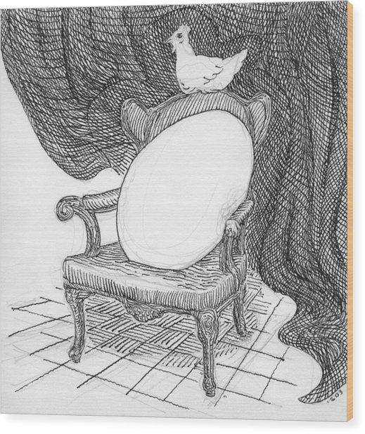 Egg In Chair Sketch Wood Print