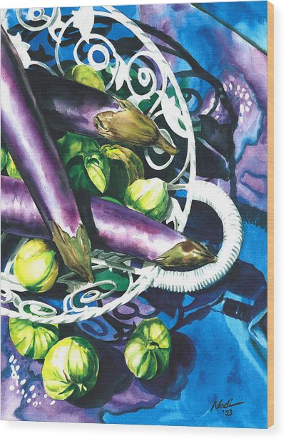 Eggplants Wood Print
