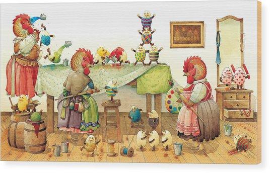 Eggs Dyeing Wood Print by Kestutis Kasparavicius