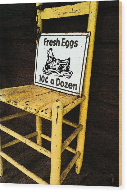 Eggs For Sale Wood Print by Lori Mellen-Pagliaro