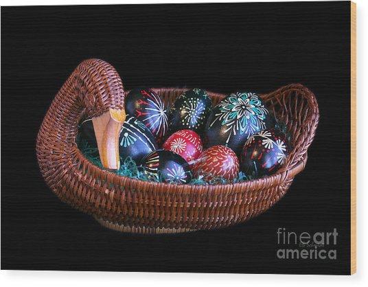 Eggs In A Goose Basket Wood Print