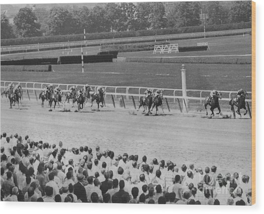 Egomaniac Heads For Victory On Opening Day At Belmont. 1969 Wood Print by Anthony Calvacca