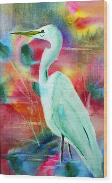 Egret 1 Wood Print by Tina Storey