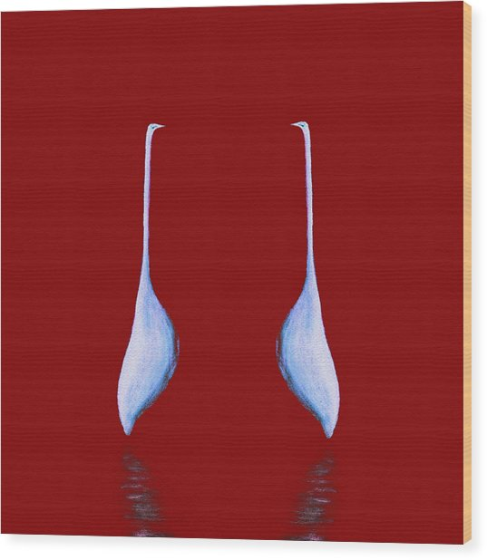 Egret Mirrored On Red Square Wood Print