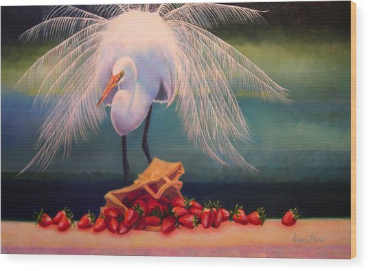 Egret With Strawberry Bag Wood Print by Valerie Aune