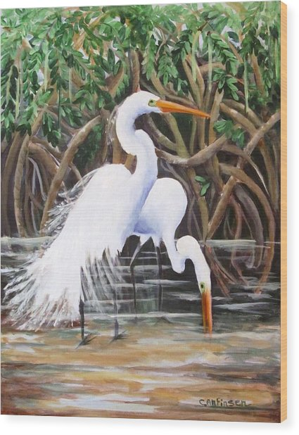 Egrets And Mangroves Wood Print