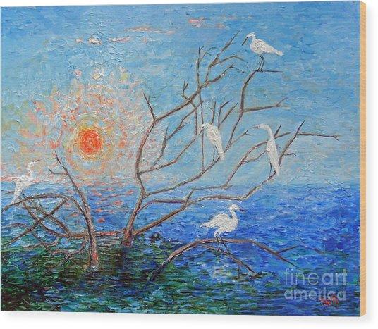 Egrets At Sunrise Wood Print