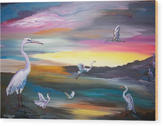 Egrets In Flight Wood Print