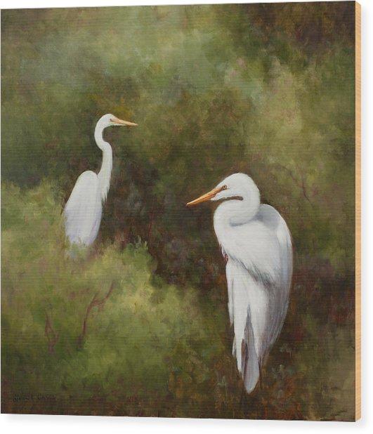 Egrets Roosting Wood Print
