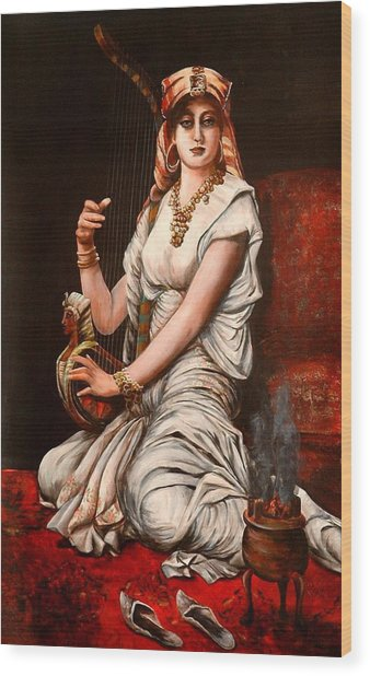 Egyptian Lady With Harp Wood Print
