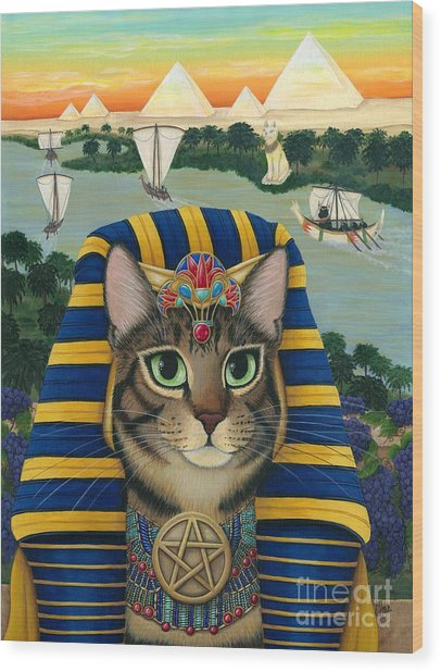Egyptian Pharaoh Cat - King Of Pentacles Wood Print