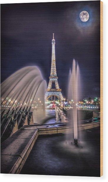 Eiffel And The Fountain Wood Print