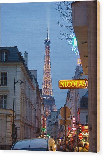Eiffel At Dusk Wood Print